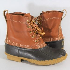 LL Bean Duck Boots Unlined Leather Bean Boots S149